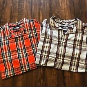 2 North Face button down shirts